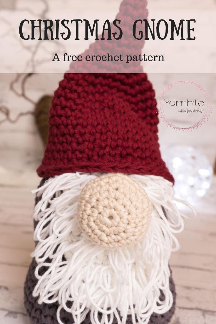 Crochet Christmas Gnome - Free crochet pattern - Yarnhild.com