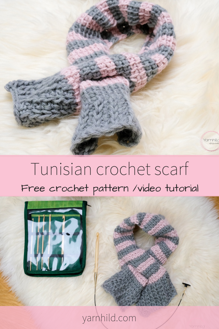 Tunisian Crochet Scarf Pattern The Winter Sunset Scarf Video