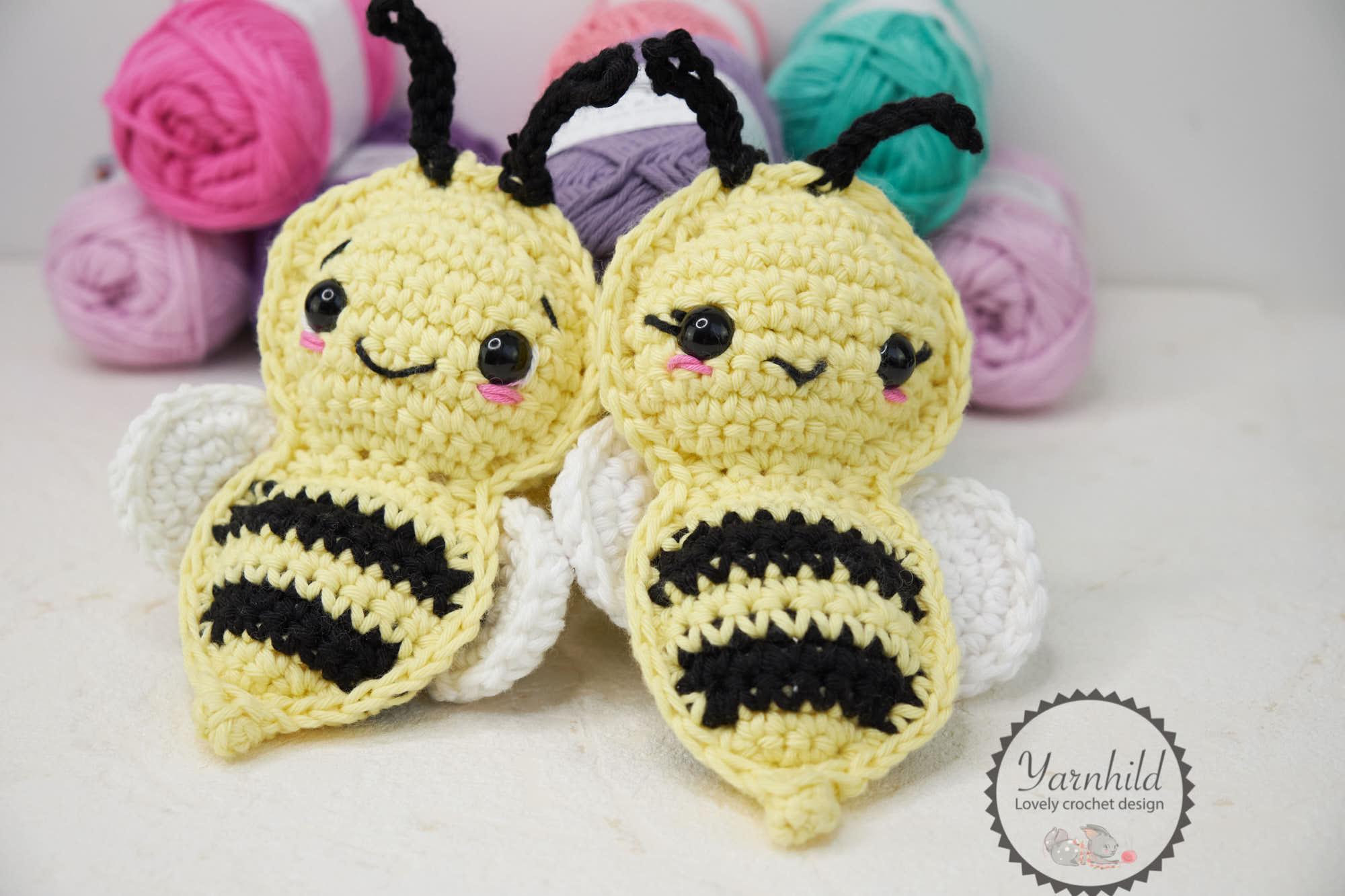Crochet bee applique | Free Pattern | Bohemian Cat | 1333x2000